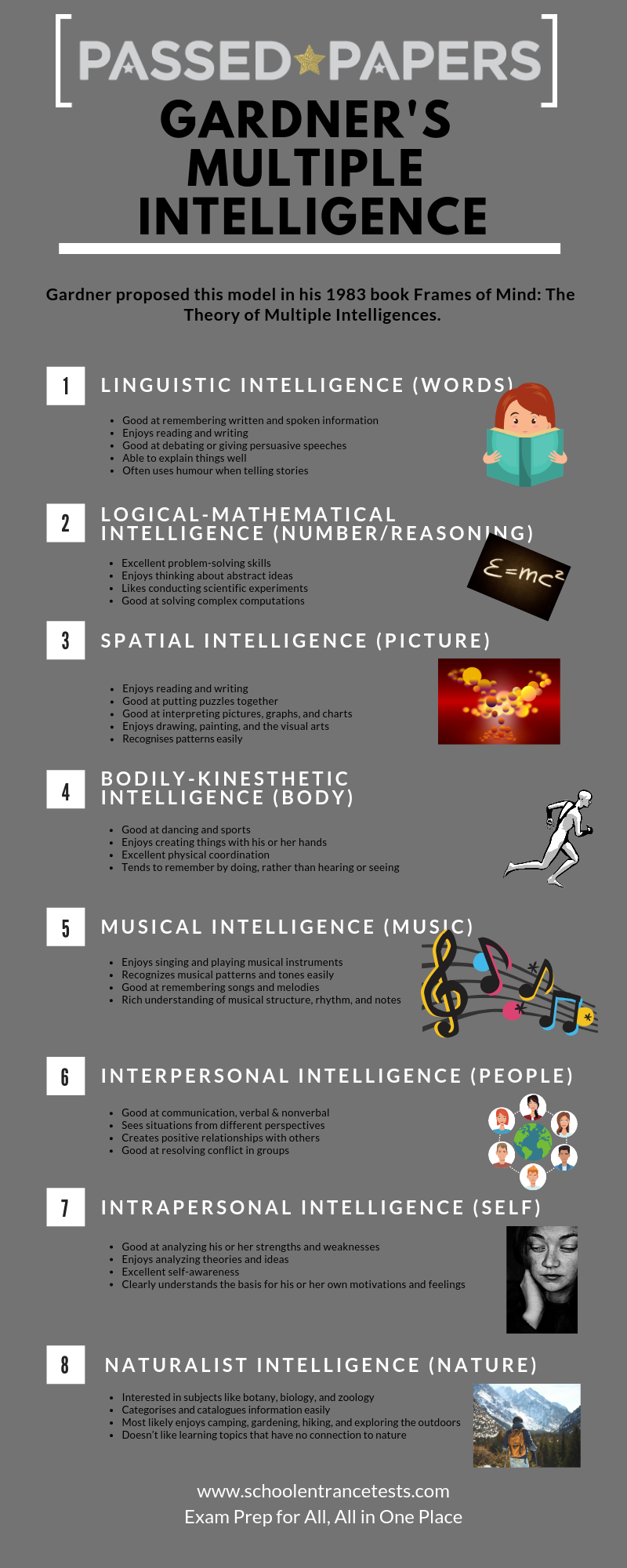 Theory of multiple intelligence infographic
