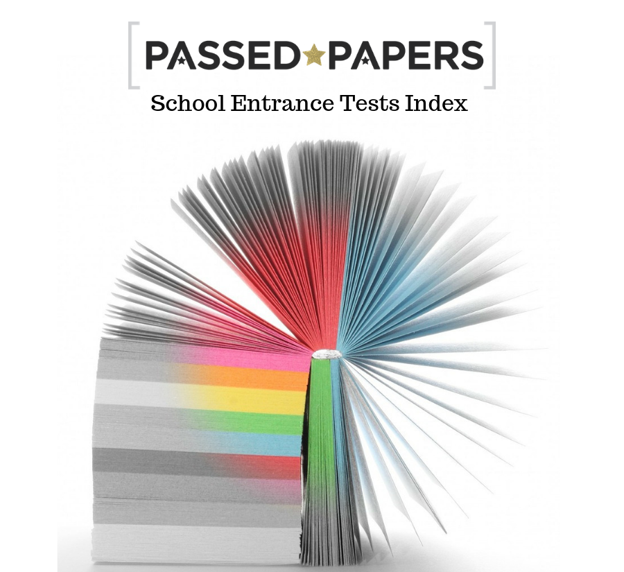 School Entrance Tests Index. Colour infused cards