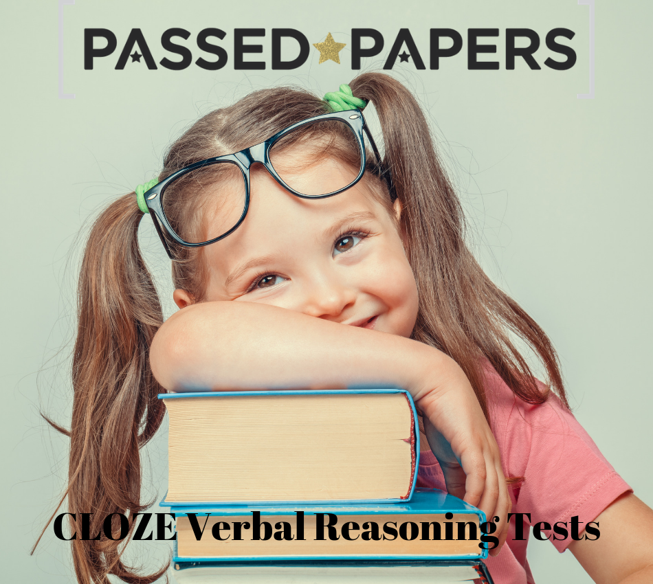 CLOZE Verbal Reasoning Tests. Girl with glasses on her head resting her arms on a stack of books