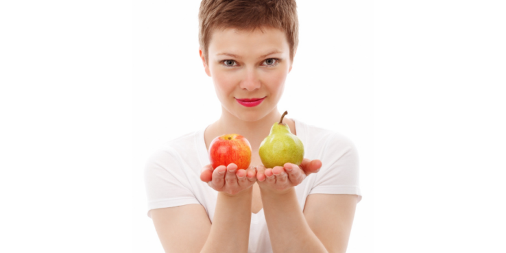 How effective is your decision-making style? Woman holding up an apple and a pear.