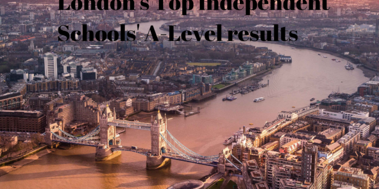 London's Top Independent Schools' A-Level results. Arial pic of London
