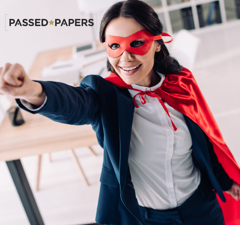 Super tutor. Woman with red cape and mask on.