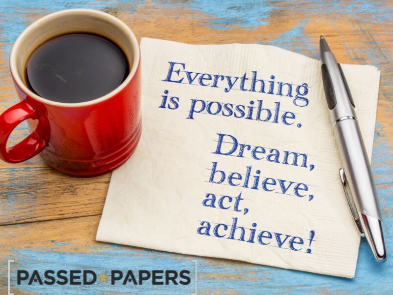 A-Level results. Motivational quote, everything is possible.
