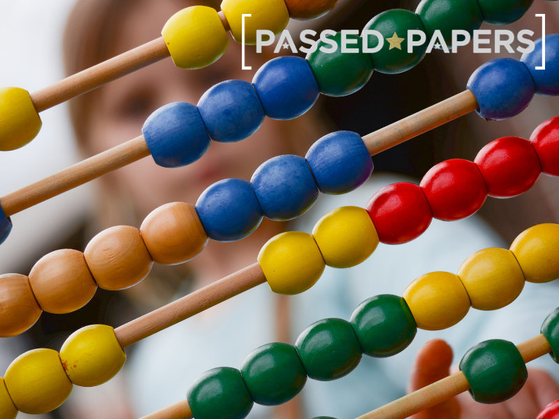 Keystage 2 SATS Math papers. Abacus in close up