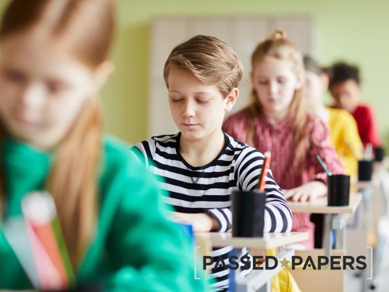 11 Plus Verbal Reasoning. Students writing school entrance tests.