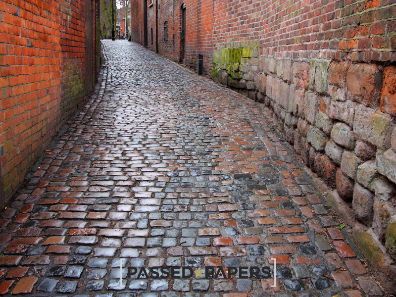 West Midlands 11 plus practice. Cobbled street.