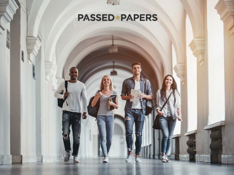 British teens head to universities. Students walking in university hall.