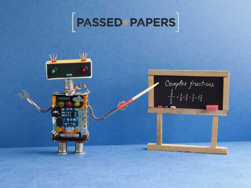 Understanding fractions visually with robot pointing at blackboard