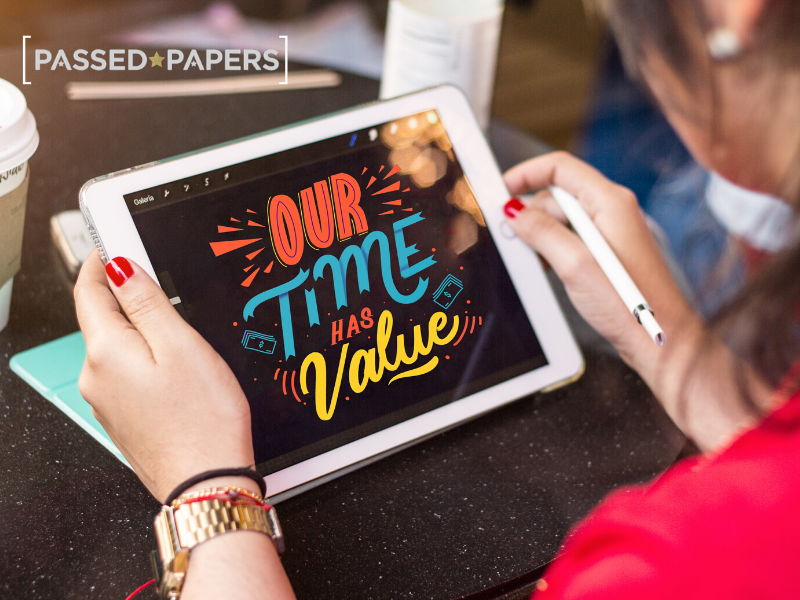 Our time has value written on tablet