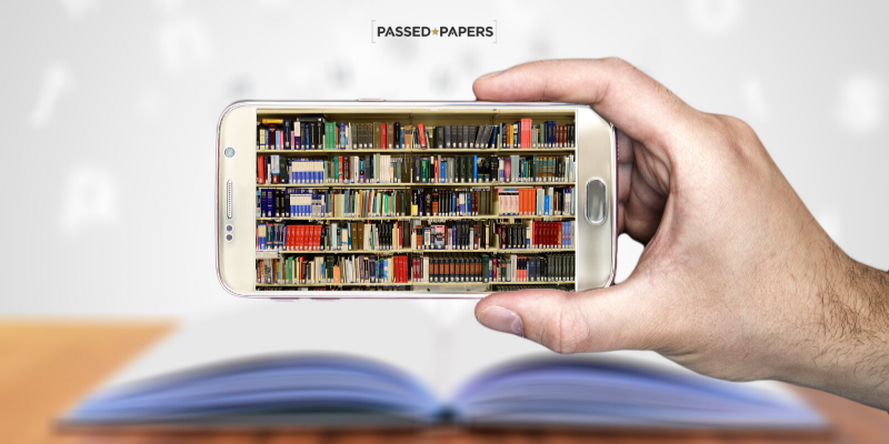 Online learning platform picture of library on mobile phone