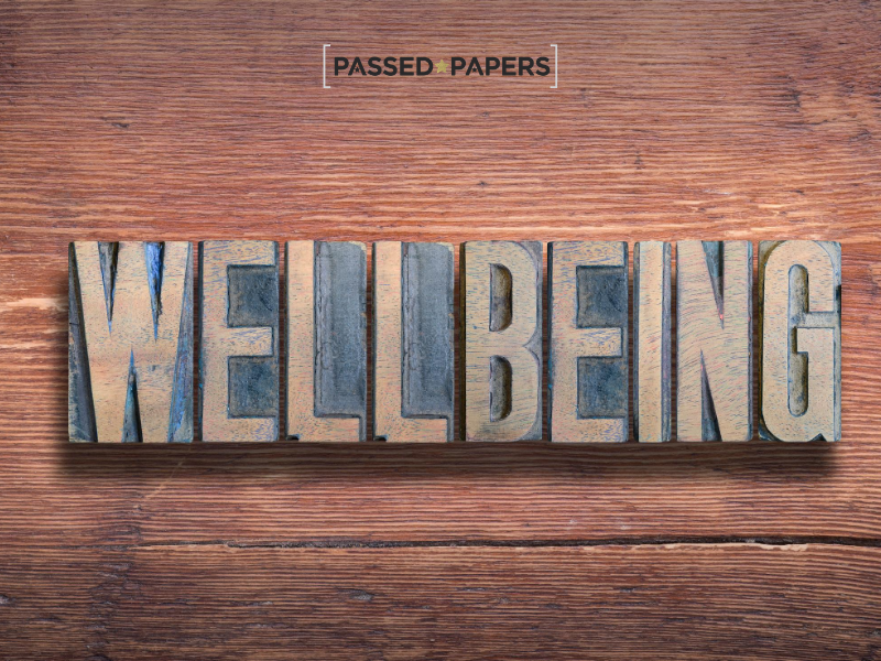 Student wellbeing in wooden lettering