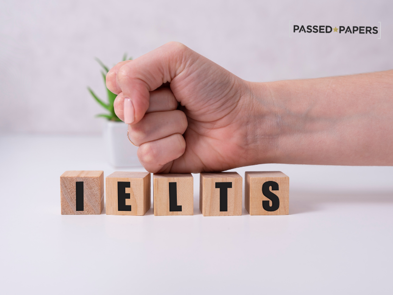 IELTS test packed out in wooden blocks
