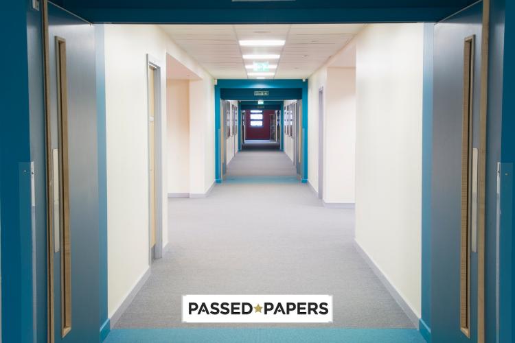 School hallway of Top secondary schools UK league tables