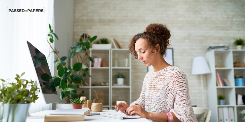 woman working at desk hybrid work skills
